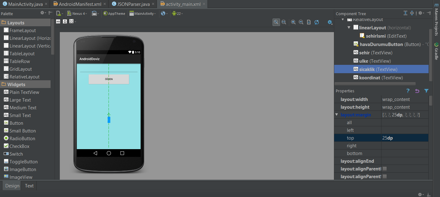 how to create a json android studio
